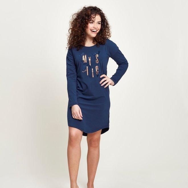 Charlie Choe Dames Nachthemd Bigshirt Blauw