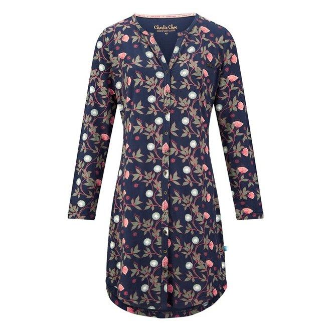 Charlie Choe Dames Nachthemd Blauw Bloemen
