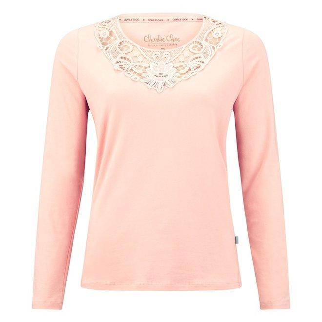 Charlie Choe Damen Pyjama Shirt Rosa Spitze