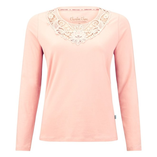 Charlie Choe Dames Pyjama Shirt Roze Kant