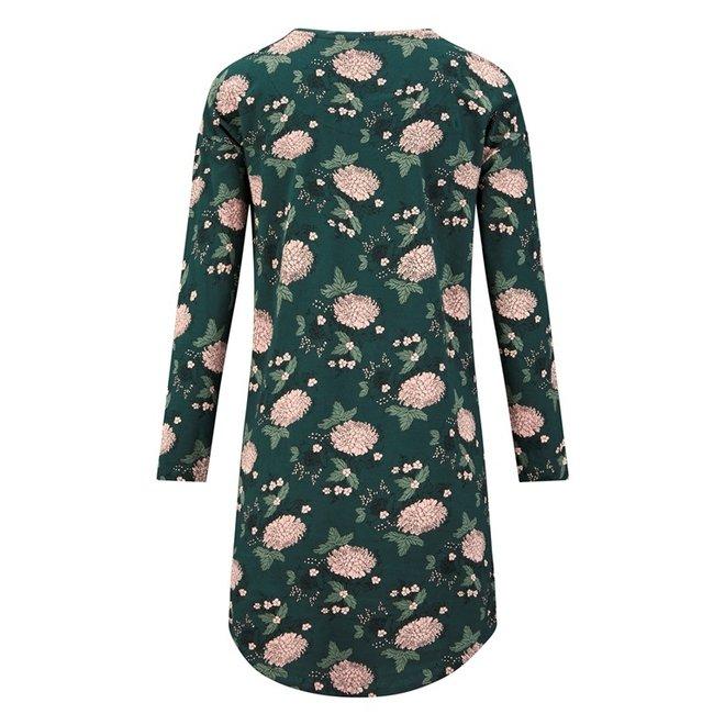Charlie Choe Dames Nachthemd Bigshirt Donkergroen Bloemen