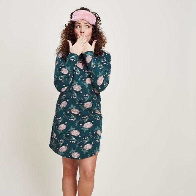 Charlie Choe Ladies Nightshirt Bigshirt Dark Green Floral