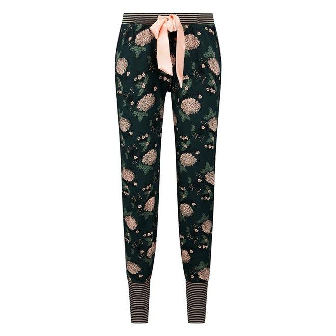 Charlie Choe Dames Pyjamabroek Donkergroen Bloemen