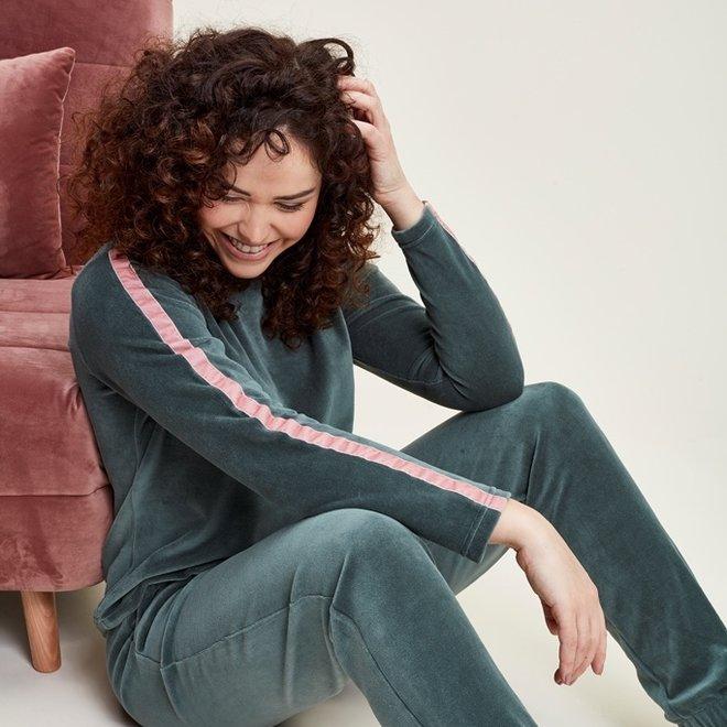 Charlie Choe Damen Pyjama Set Home Anzug Grün Velour