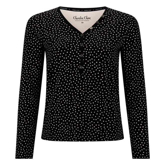 Charlie Choe Dames Pyjama Shirt Zwart Stippen