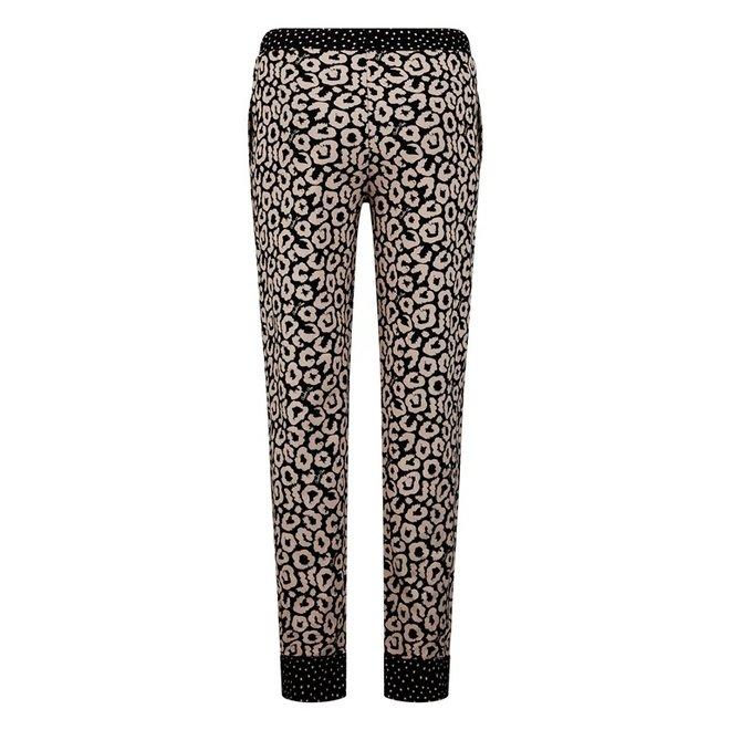 Charlie Choe Dames Pyjamabroek Zwart Roze Panter