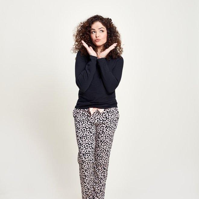 Charlie Choe Damen Pyjamahose Schwarz Rosa Panther