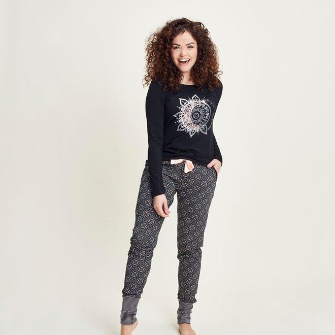 Charlie Choe Ladies Pyjama Pants Black Pink
