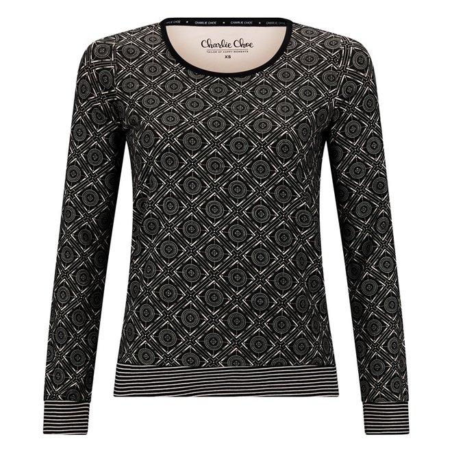 Charlie Choe Ladies Pyjama Shirt Pullover Black Pink