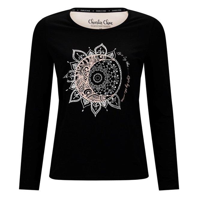 Charlie Choe Dames Pyjama Shirt Zwart