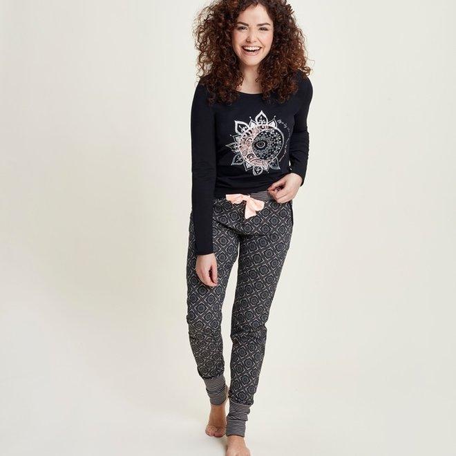 Charlie Choe Damen Pyjama Shirt Schwarz