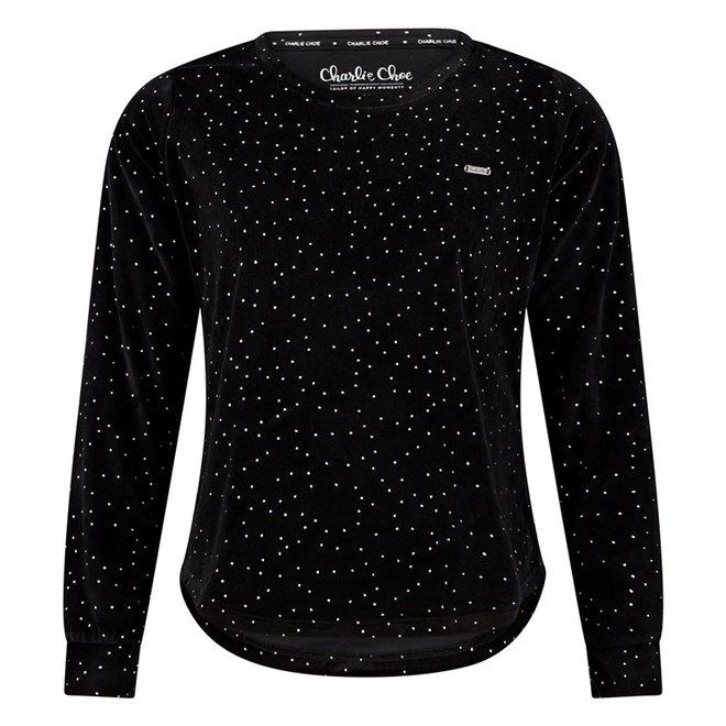 Charlie Choe Damen Pyjama Shirt Pullover Schwarz Samt Silber