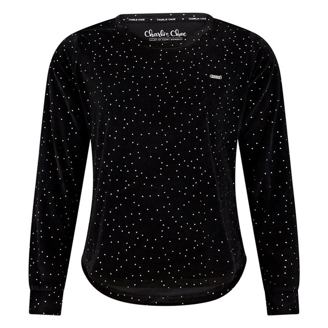 Charlie Choe Dames Pyjama Shirt Pullover Zwart Velours zilver