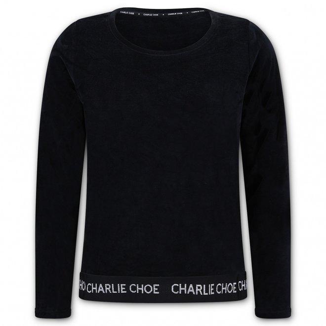 Charlie Choe Dames Pyjama Sweater Zwart Velours