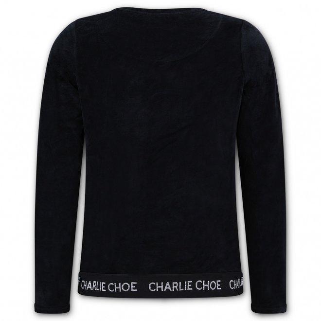 Charlie Choe Ladies Pyjama Sweater Black Velvet