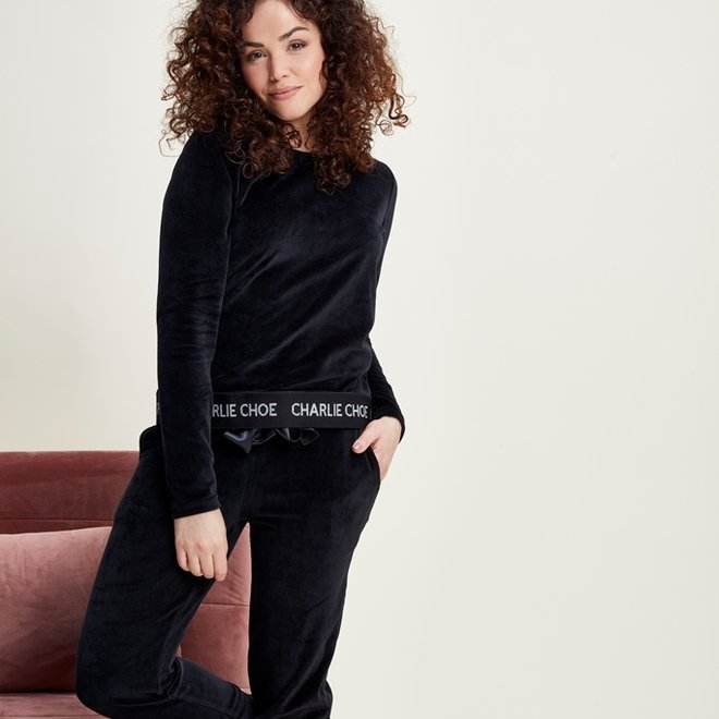 Charlie Choe Damen Pyjamapullover Schwarzer Samt