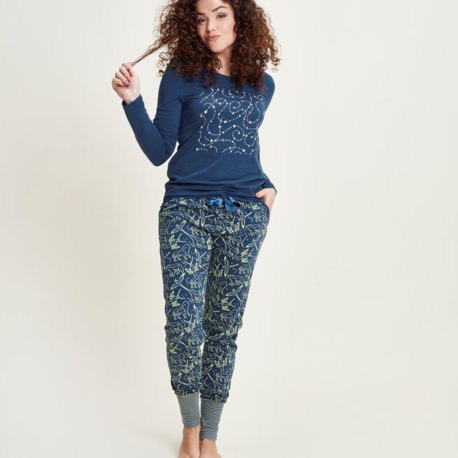 Charlie Choe Damen Pyjama Set Blau Mini Me Starry