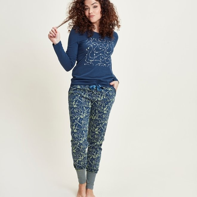 Charlie Choe Dames Pyjama set Blauw Mini Me Sterrenstelsel