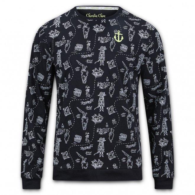 Charlie Choe Heren Pyjama Shirt Pullover Zwart Piraat