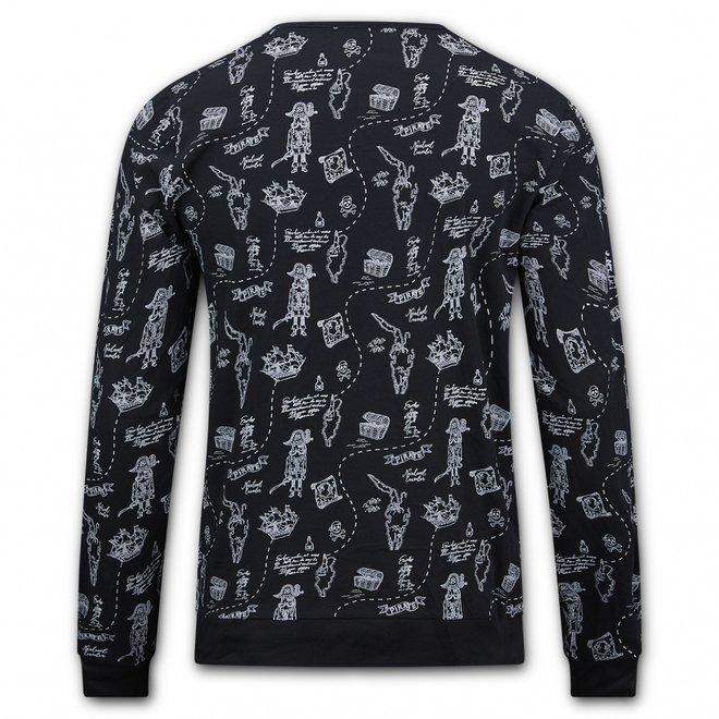 Charlie Choe Herren Pyjama Shirt Pullover Schwarz Pirat