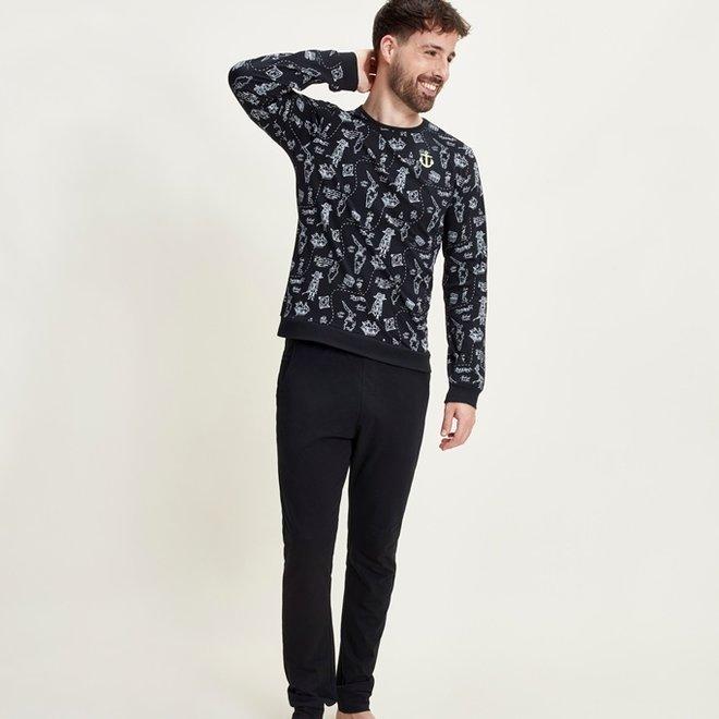 Charlie Choe Men's Pyjama Shirt Pullover Black Pirate