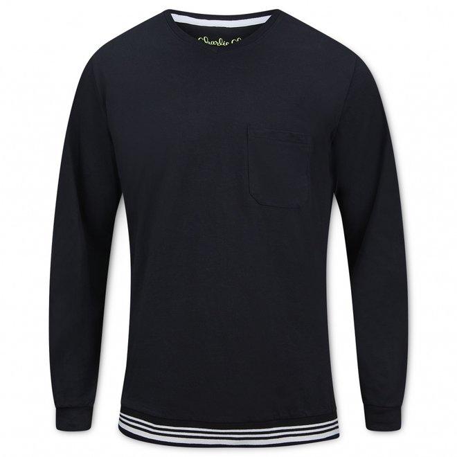 Charlie Choe Heren Pyjama Shirt Pullover Zwart