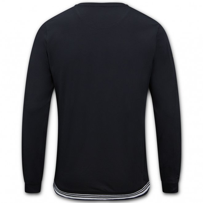 Charlie Choe Herren Pyjama Shirt Pullover Schwarz