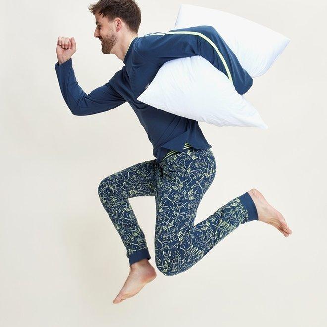 Charlie Choe Heren Pyjama Set Blauw Mini Me Sterrenstelsel