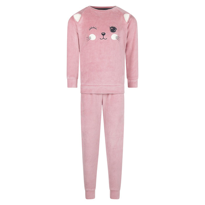 Charlie Choe Mädchen Pyjama Set Rosa Velours Pussycat