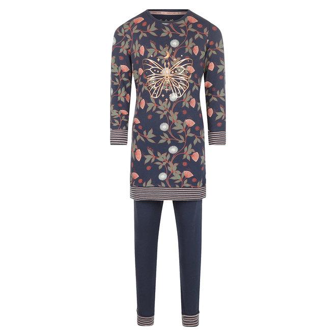 Charlie Choe Meisjes Pyjama Long Pullover Set Blauw Bloemen