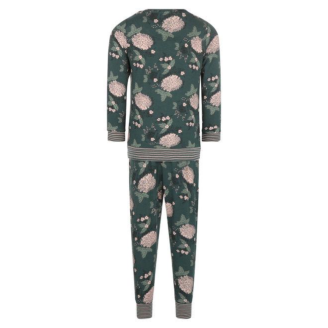 Charlie Choe Blumen Mädchen Pyjama Lounge Set Dunkelgrün