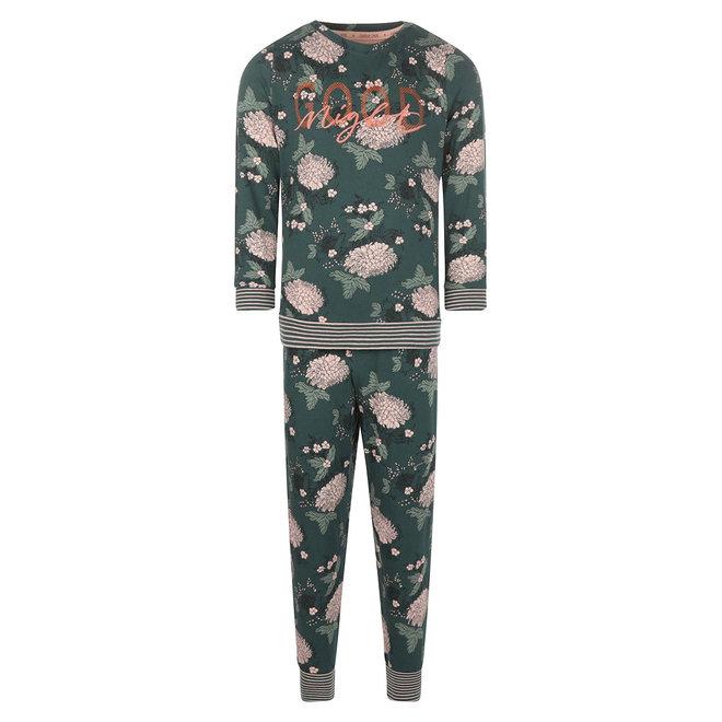 Charlie Choe Meisjes Pyjama Lounge Set Donkergroen Bloemen