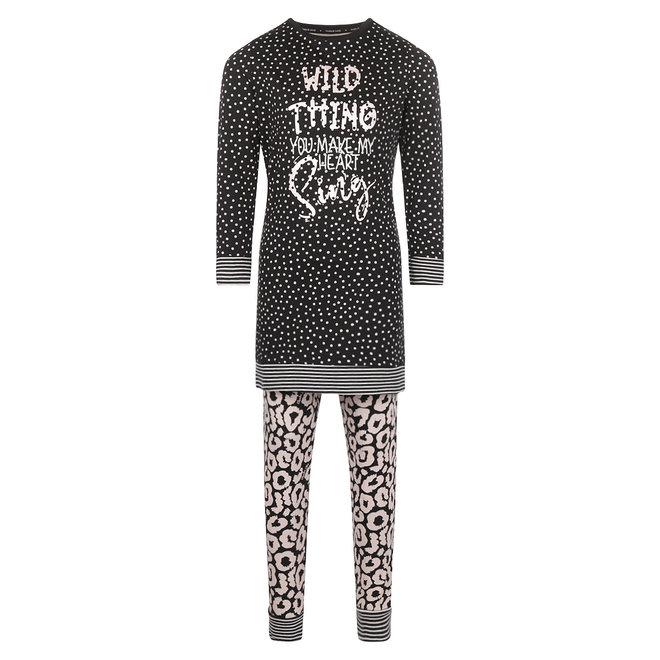 Charlie Choe Meisjes Pyjama Long Pullover Set Zwart Panter