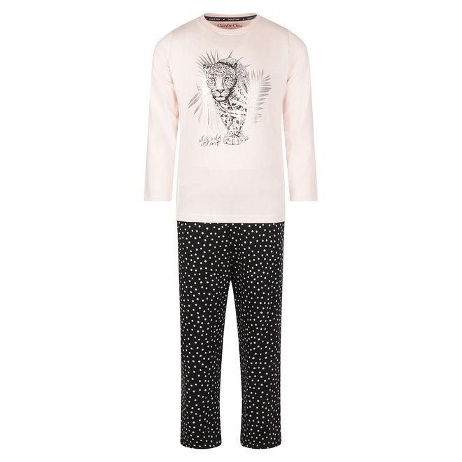 Charlie Choe Meisjes Pyjama Roze Zwart Panter