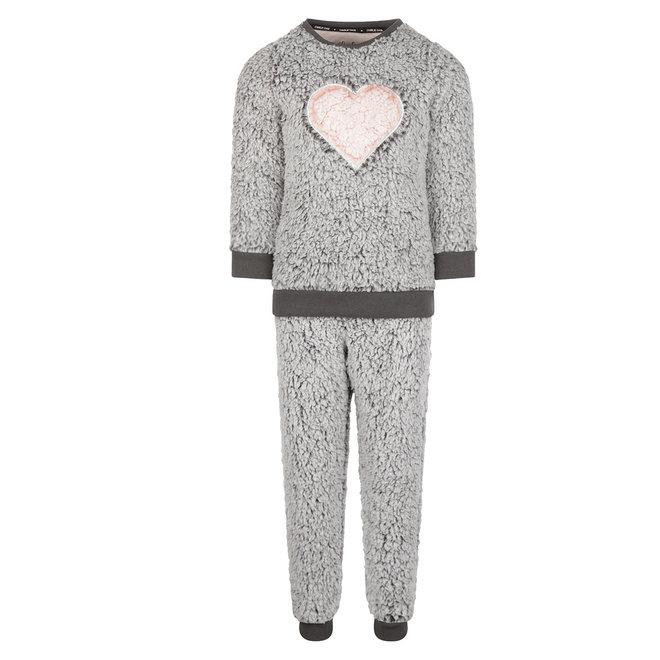 Charlie Choe Girls Pyjama Homewear Set Faux Fur Grey