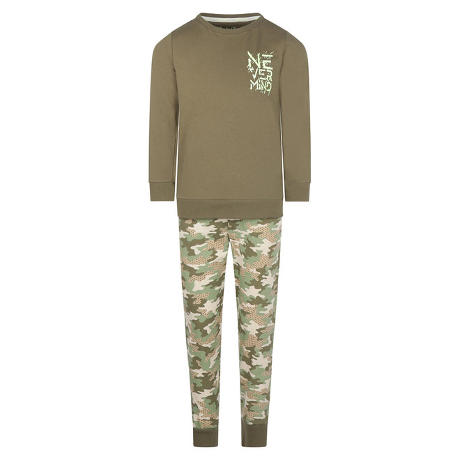 Charlie Choe Jongens Pyjama Lounge Set Groen Camouflage