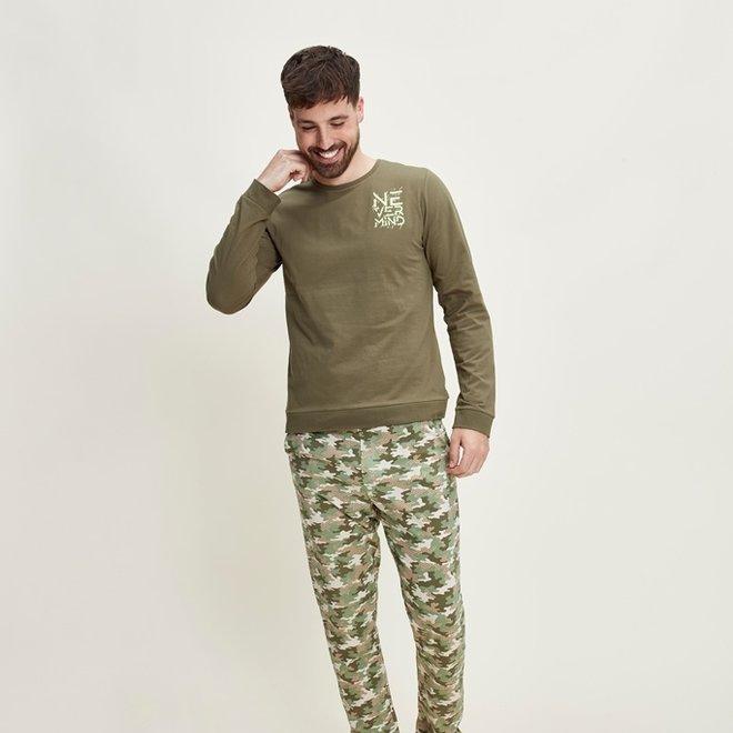 Charlie Choe Heren Pyjama Set Camouflage Groen