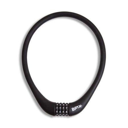 Lynx Siliconen Combinatie Kabelslot 70 CM viercijferig Zwart