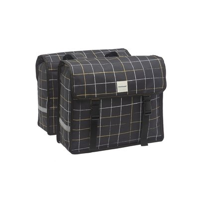 New Looxs Dubbele fietstas Fiori Double 30L Check Black