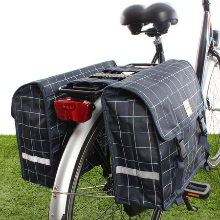 New Looxs Dubbele fietstas Fiori Double 30L Check Blue