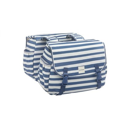 New Looxs Dubbele fietstas Joli Double 34L Blue Stripe