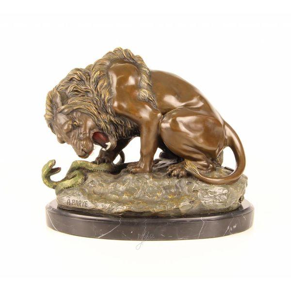 Bronze sculpture of a lion and serpent