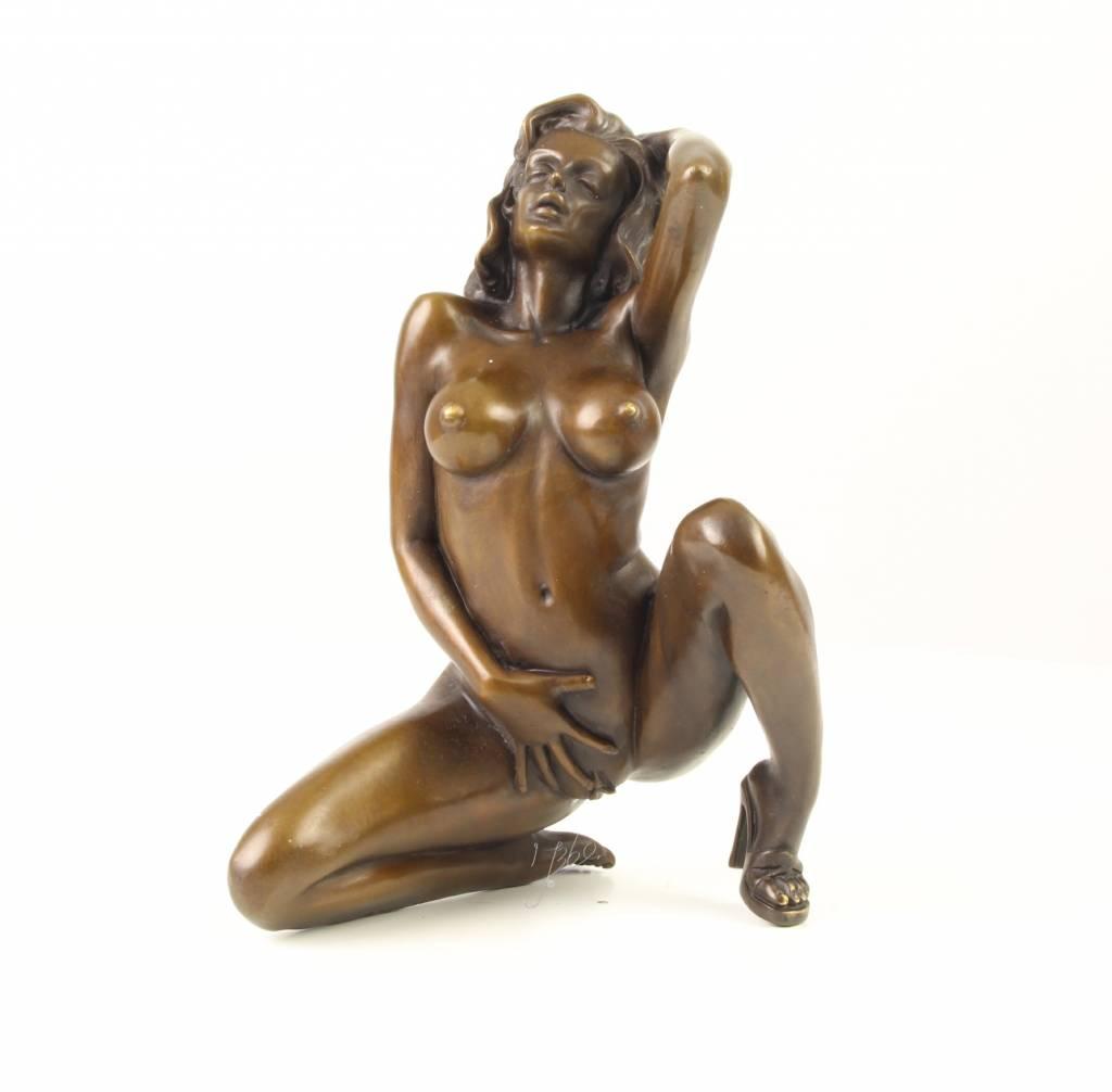 Erotic Nude Bronze Statue On Marble Base Figurine