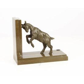 A BRONZE GOAT BOOKEND