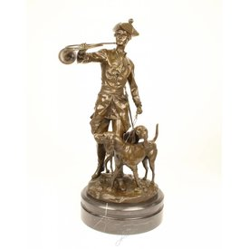 A BRONZE GROUP OF LOUIS XV WITH HOUNDS
