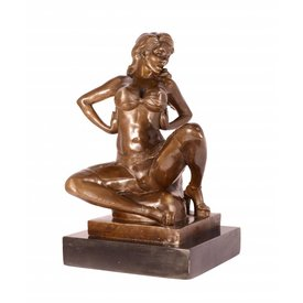AN EROTIC BRONZE SCULPTURE OF SEMI NUDE FEMALE TAKING OFF HE