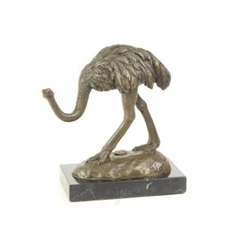 Bronzen beeld van een struisvogel