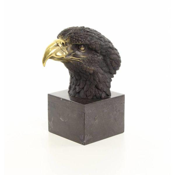Bronze sculpture of an eagles head