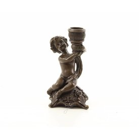 Bronze cherub candle holder (right)