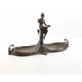 Bronze jugendstil woman with 2 trays